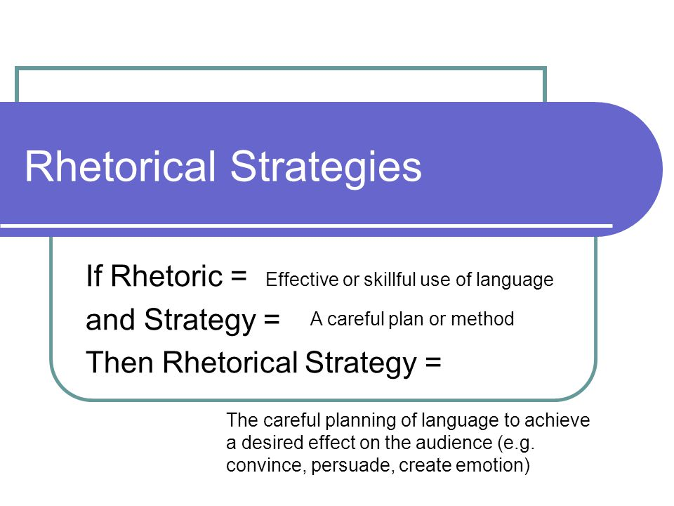 Rhetorical Strategies If Rhetoric = and Strategy = Then Rhetorical Strategy = Effective or skillful use of language A careful plan or method The careful planning of language to achieve a desired effect on the audience (e.g.