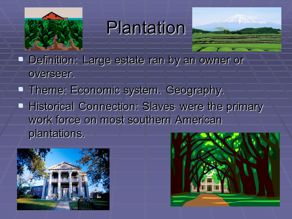 Plantation  Definition: Large estate ran by an owner or overseer.