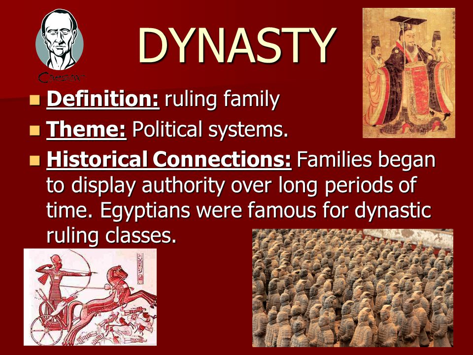 DYNASTY Definition: ruling family Definition: ruling family Theme: Political systems.