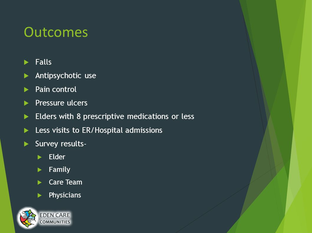Outcomes  Falls  Antipsychotic use  Pain control  Pressure ulcers  Elders with 8 prescriptive medications or less  Less visits to ER/Hospital admissions  Survey results-  Elder  Family  Care Team  Physicians