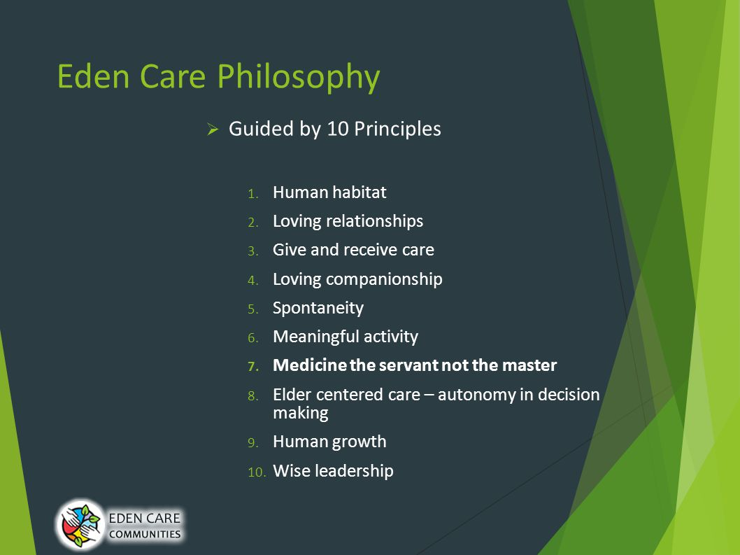 Eden Care Philosophy  Guided by 10 Principles 1. Human habitat 2.