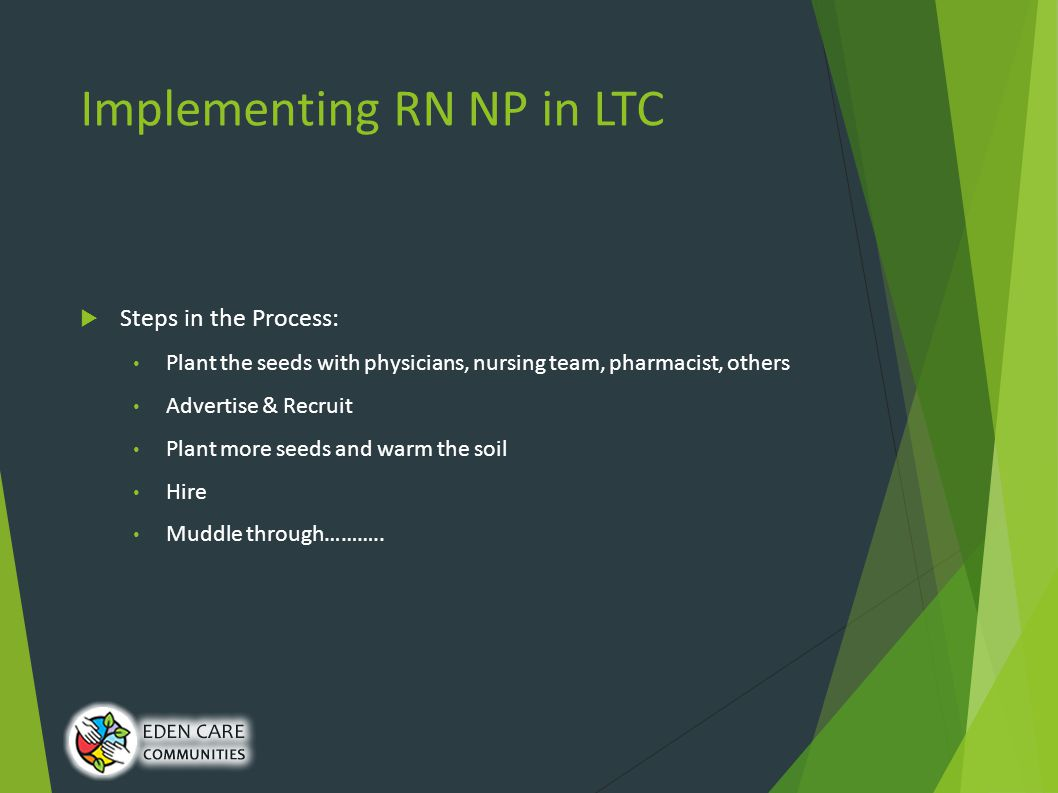 Implementing RN NP in LTC  Steps in the Process: Plant the seeds with physicians, nursing team, pharmacist, others Advertise & Recruit Plant more seeds and warm the soil Hire Muddle through………..