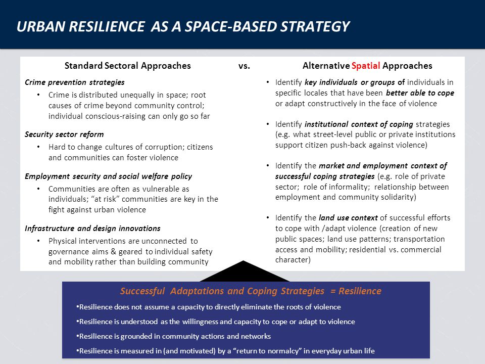 One working definition of resilience: …how people, institutions, and societies bound back from harm and figure out ways to adapt and thrive.