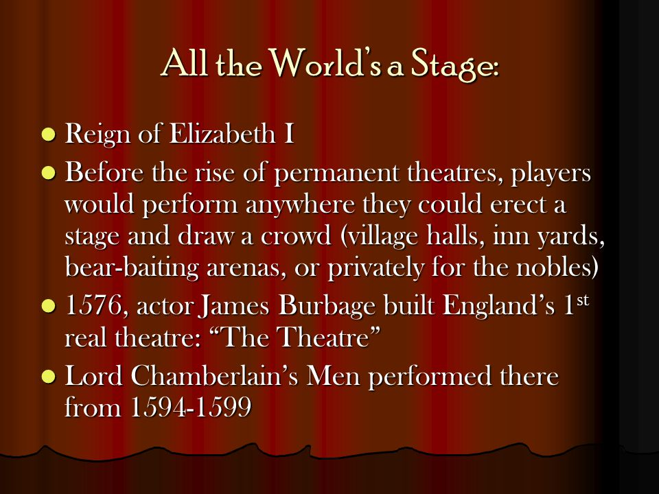 All the World's a Stage: Reign of Elizabeth I Reign of Elizabeth I Before the rise of permanent theatres, players would perform anywhere they could er