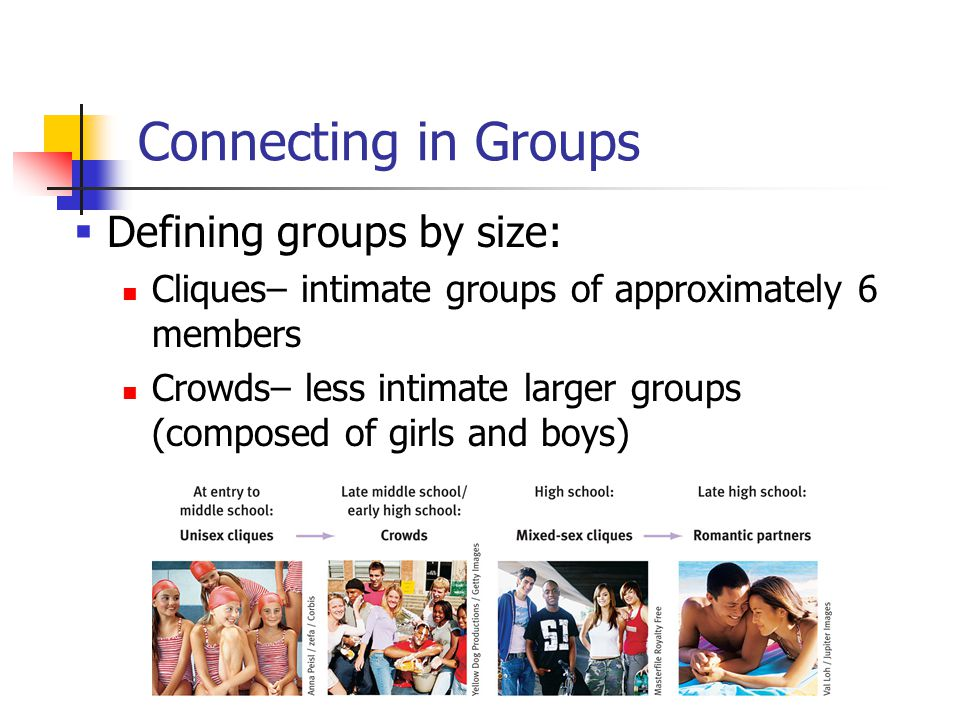 Connecting in Groups  Defining groups by size: Cliques– intimate groups of approximately 6 members Crowds– less intimate larger groups (composed of girls and boys)