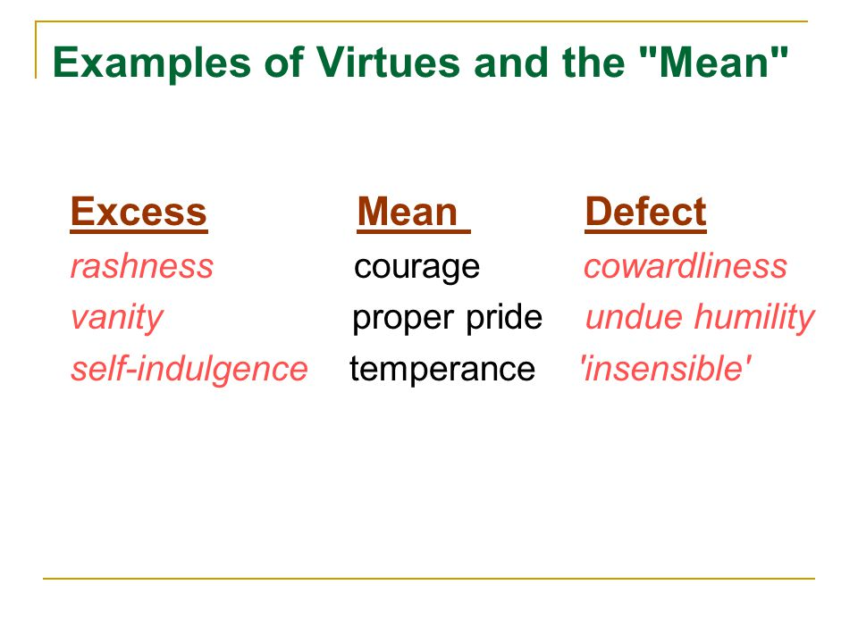 Examples of Virtues and the
