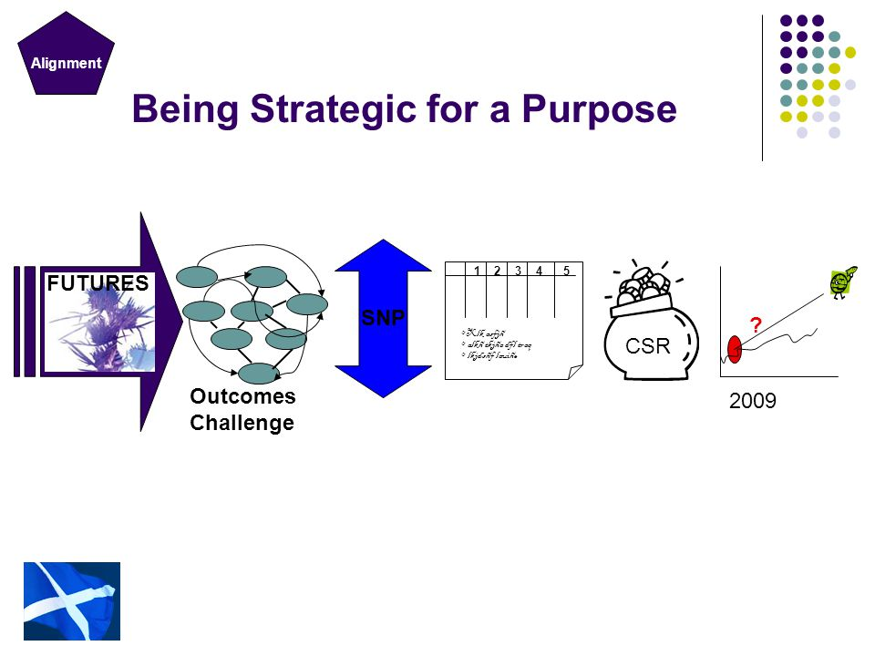 Outcomes Being Strategic for a Purpose SNP 123 4 5 Xlk asfjh alkh tkjha dfl traq lkjdshf lauihe FUTURES Outcomes Challenge CSR ? 2009 Alignment