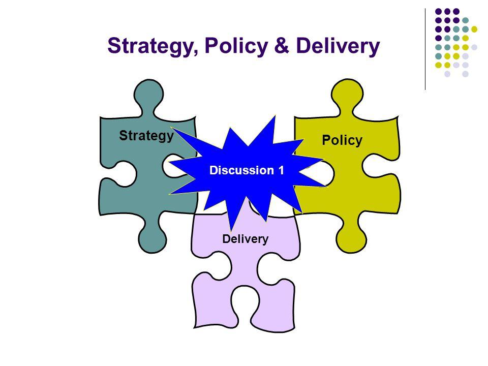 Strategy Strategy, Policy & Delivery Policy Discussion 1 Delivery