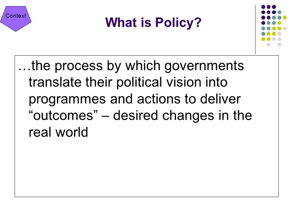 Context What is Policy.