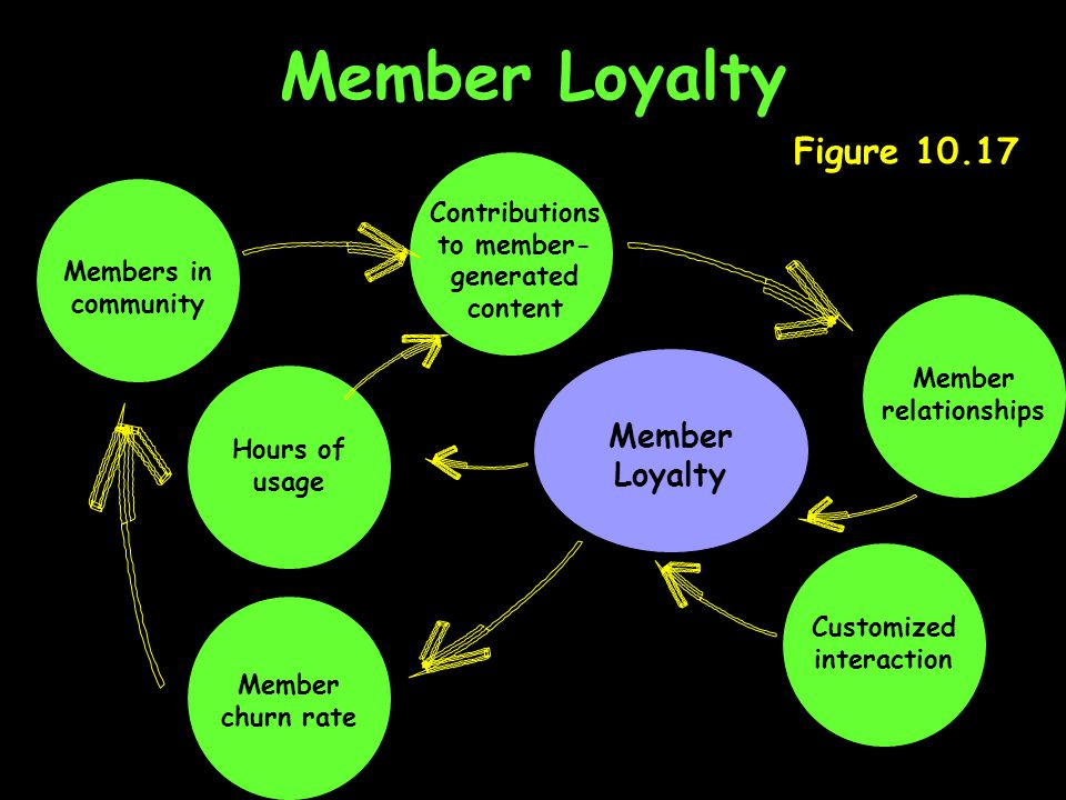 Member Loyalty Figure 10.17 Member churn rate Member Loyalty Hours of usage Members in community Customized interaction Contributions to member- generated content Member relationships