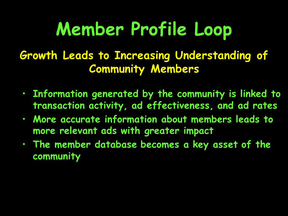 Member Profile Loop Information generated by the community is linked to transaction activity, ad effectiveness, and ad rates More accurate information about members leads to more relevant ads with greater impact The member database becomes a key asset of the community Growth Leads to Increasing Understanding of Community Members
