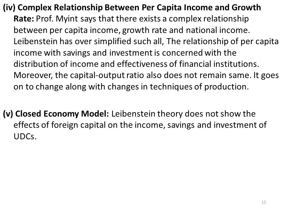 (iv) Complex Relationship Between Per Capita Income and Growth Rate: Prof.