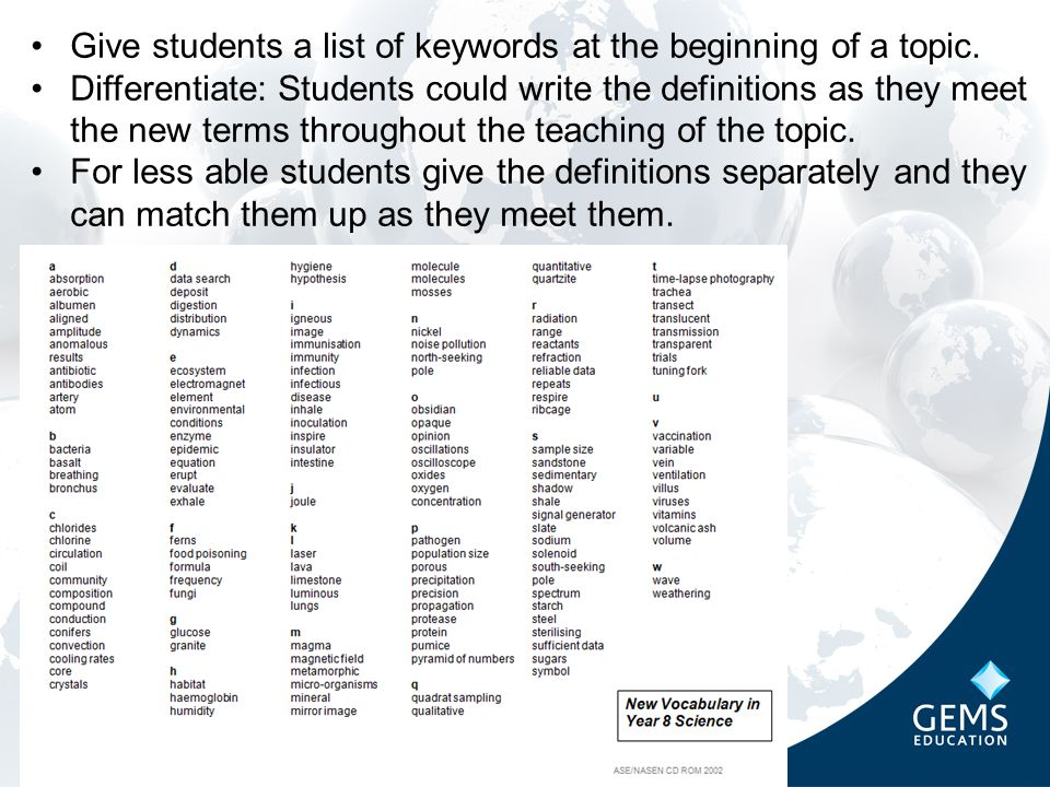 Give students a list of keywords at the beginning of a topic.