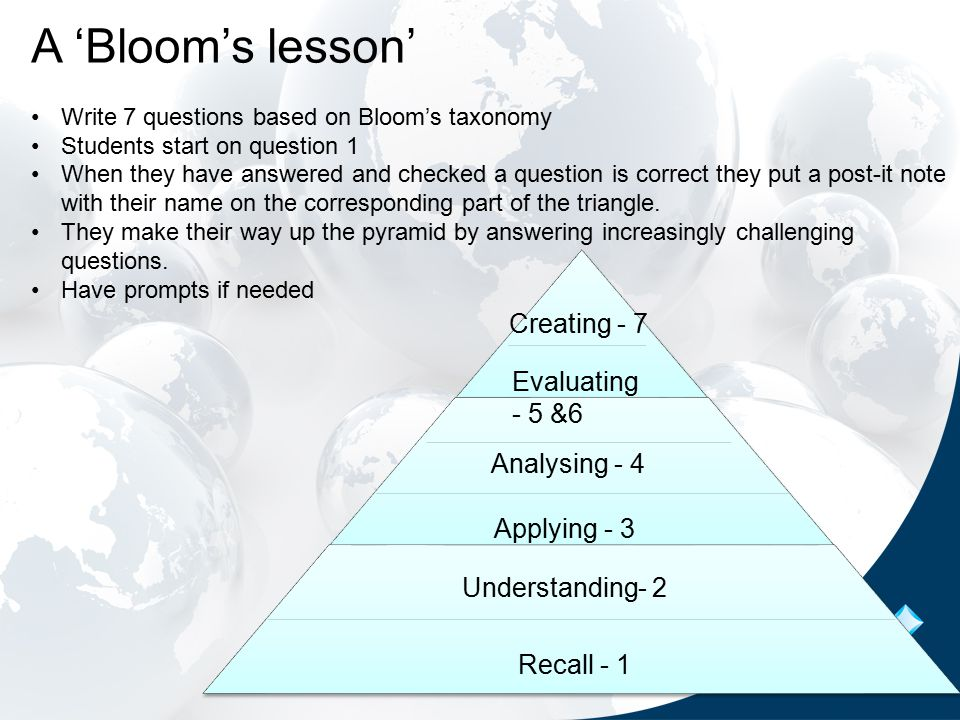 Recall - 1 Understanding- 2 Applying - 3 Analysing - 4 Evaluating - 5 &6 Creating - 7 A 'Bloom's lesson' Write 7 questions based on Bloom's taxonomy Students start on question 1 When they have answered and checked a question is correct they put a post-it note with their name on the corresponding part of the triangle.