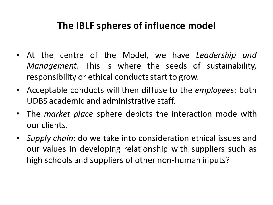 The IBLF spheres of influence model At the centre of the Model, we have Leadership and Management. This is where the seeds of sustainability, responsi