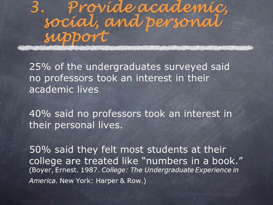 25% of the undergraduates surveyed said no professors took an interest in their academic lives 40% said no professors took an interest in their person
