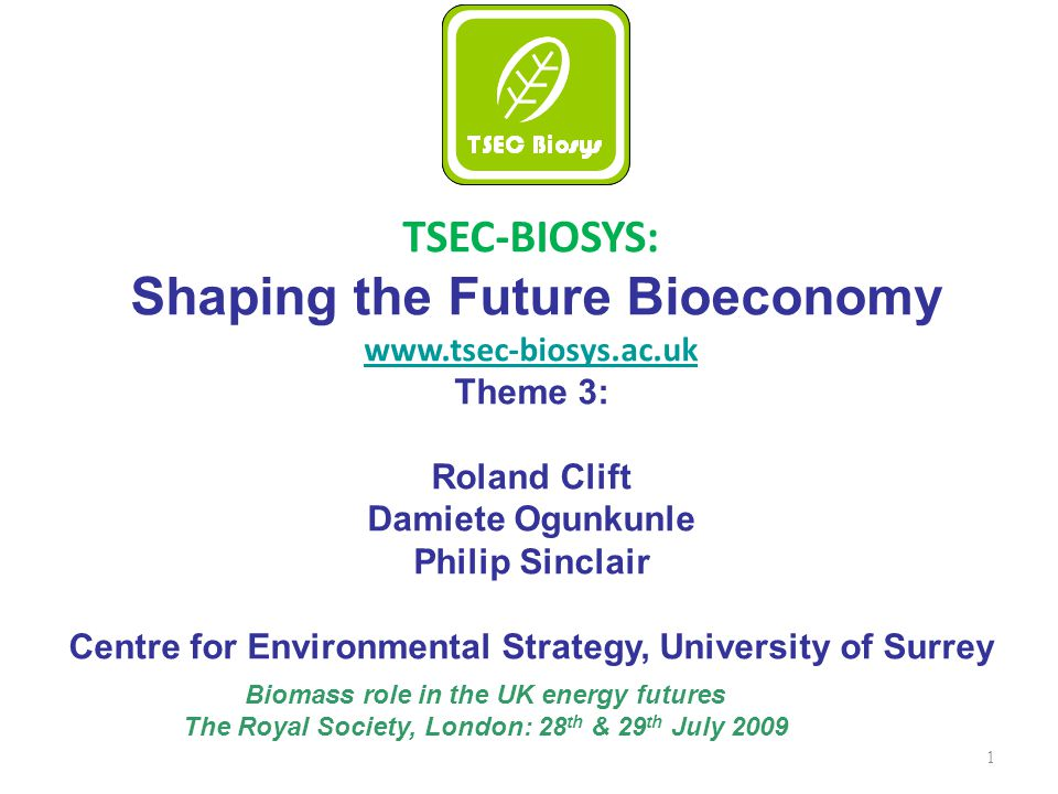 1 TSEC-BIOSYS: Shaping the Future Bioeconomy www.tsec-biosys.ac.uk Theme 3: Roland Clift Damiete Ogunkunle Philip Sinclair Centre for Environmental Strategy, University of Surrey Biomass role in the UK energy futures The Royal Society, London: 28 th & 29 th July 2009