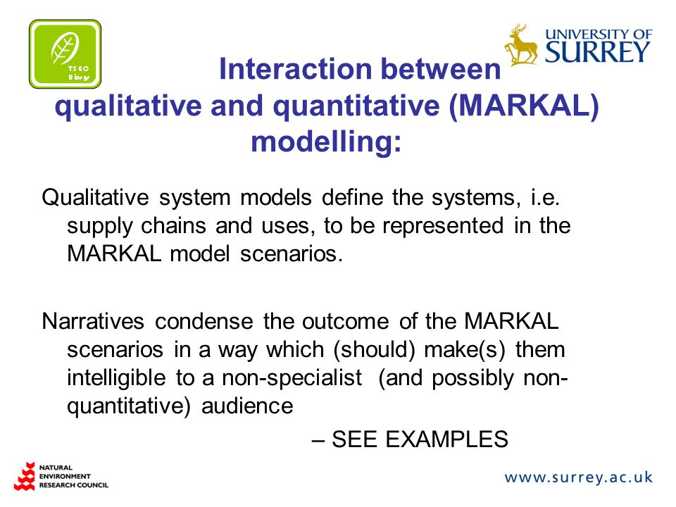 Interaction between qualitative and quantitative (MARKAL) modelling: Qualitative system models define the systems, i.e.