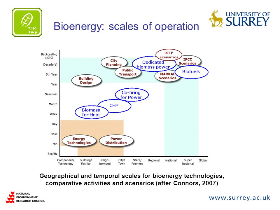 Bioenergy: scales of operation RCEPscenarios Geographical and temporal scales for bioenergy technologies, comparative activities and scenarios (after Connors, 2007)