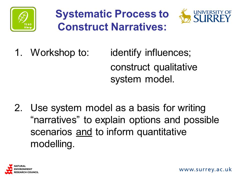 Systematic Process to Construct Narratives: 1.Workshop to: identify influences; construct qualitative system model.