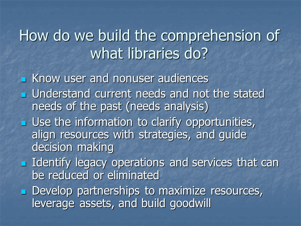 How do we build the comprehension of what libraries do.