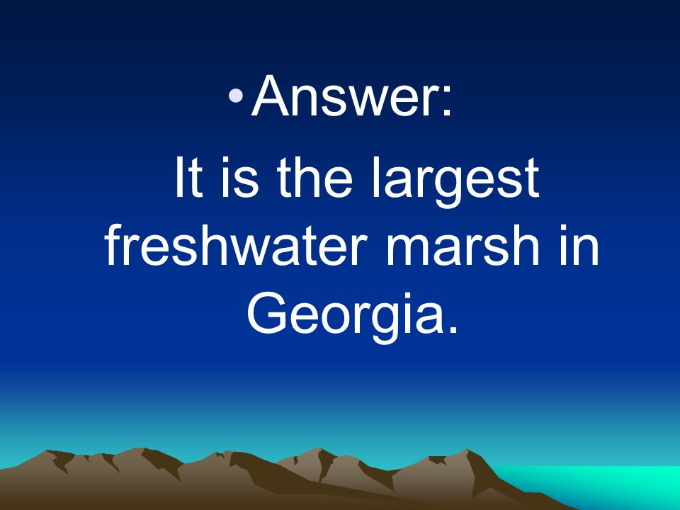 Answer: It is the largest freshwater marsh in Georgia.
