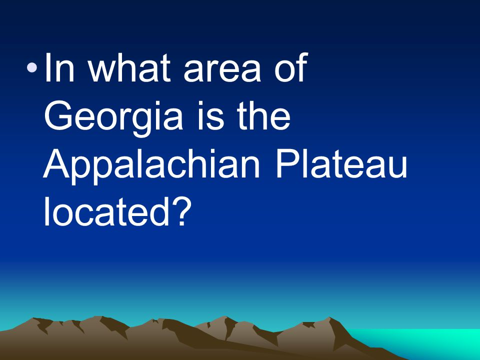 In what area of Georgia is the Appalachian Plateau located