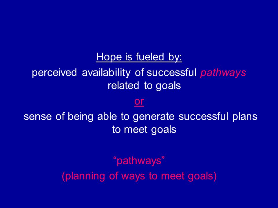 "Hope is fueled by: perceived availability of successful pathways related to goals or sense of being able to generate successful plans to meet goals ""p"
