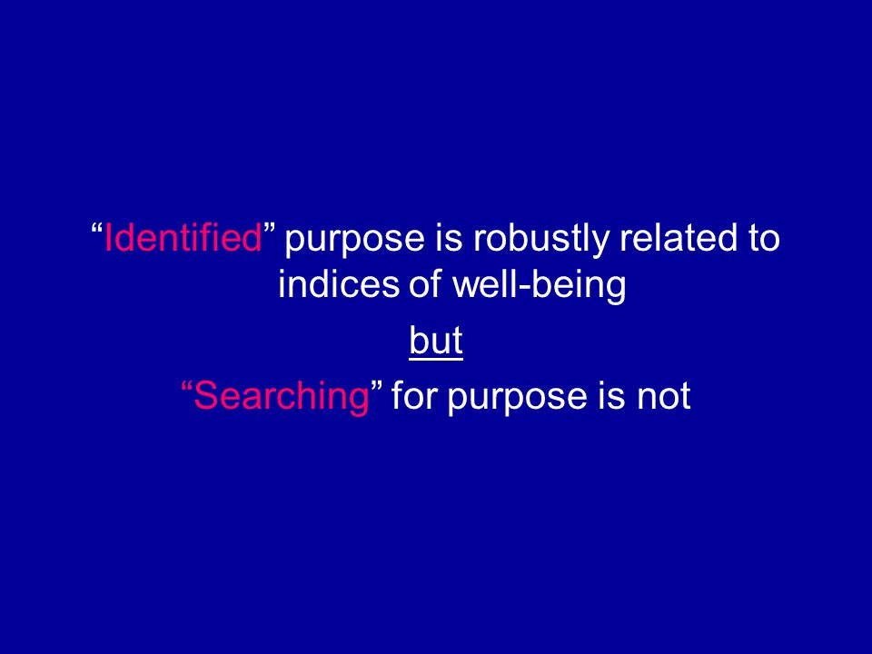 Identified purpose is robustly related to indices of well-being but Searching for purpose is not