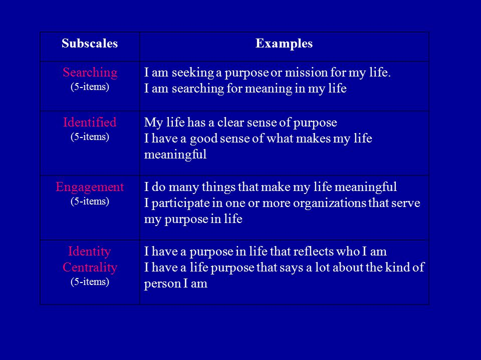 SubscalesExamples Searching (5-items) I am seeking a purpose or mission for my life. I am searching for meaning in my life Identified (5-items) My lif