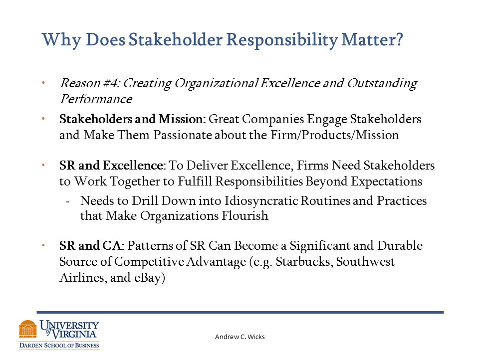 Andrew C. Wicks Why Does Stakeholder Responsibility Matter.