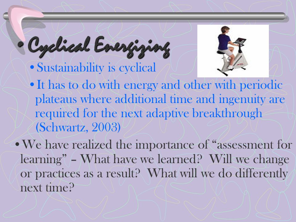 Cyclical EnergizingCyclical Energizing Sustainability is cyclical It has to do with energy and other with periodic plateaus where additional time and ingenuity are required for the next adaptive breakthrough (Schwartz, 2003) We have realized the importance of assessment for learning – What have we learned.