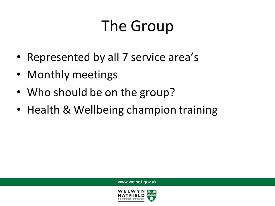 The Group Represented by all 7 service area's Monthly meetings Who should be on the group.