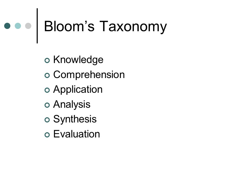 Bloom's Taxonomy Knowledge Comprehension Application Analysis Synthesis Evaluation