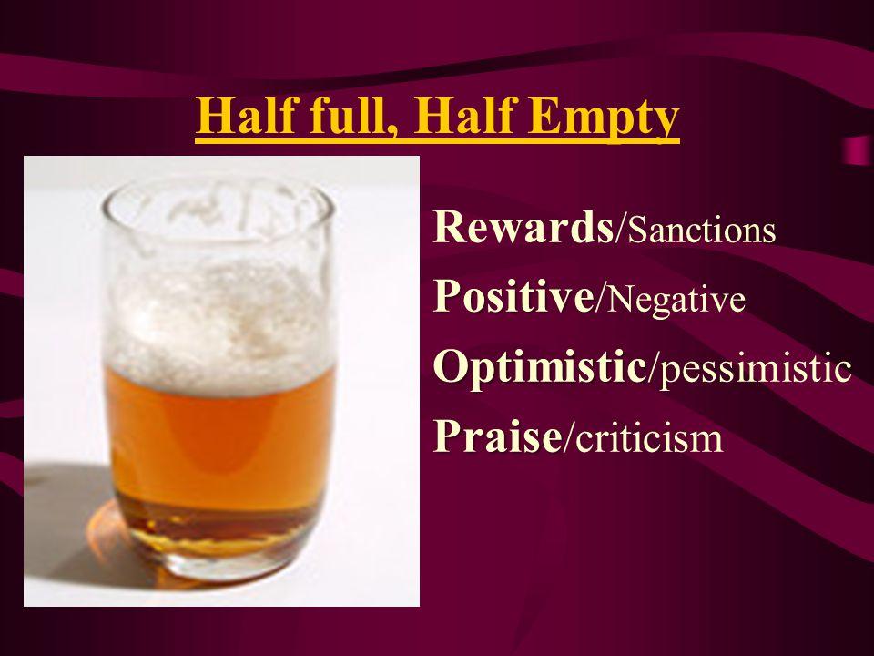 Half full, Half Empty Rewards / Sanctions Positive Positive / Negative Optimistic Optimistic /pessimistic Praise Praise /criticism