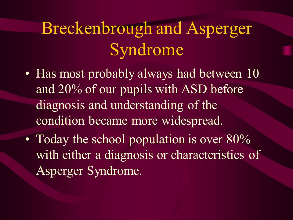 Breckenbrough and Asperger Syndrome Has most probably always had between 10 and 20% of our pupils with ASD before diagnosis and understanding of the condition became more widespread.
