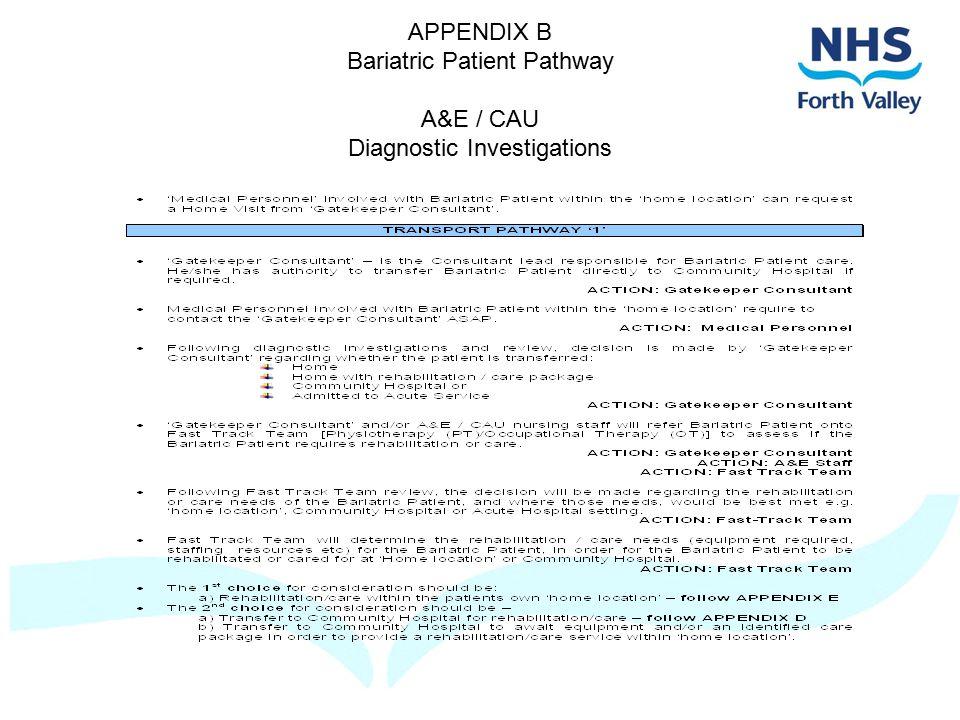 APPENDIX B Bariatric Patient Pathway A&E / CAU Diagnostic Investigations
