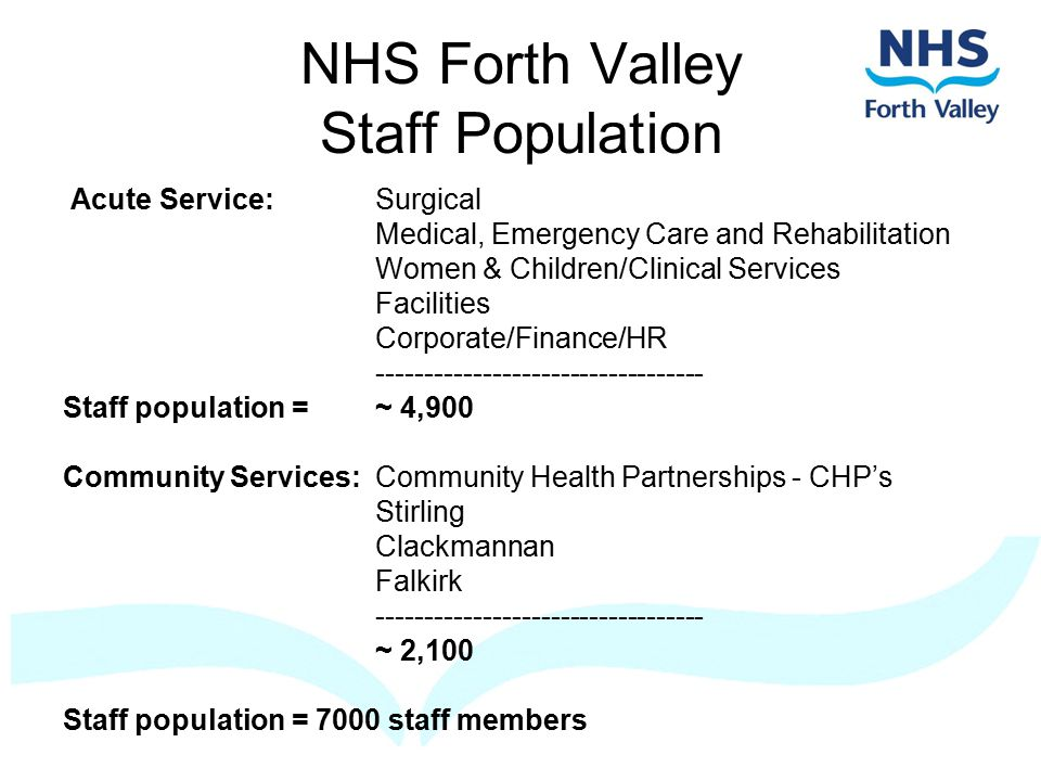 NHS Forth Valley Staff Population Acute Service:Surgical Medical, Emergency Care and Rehabilitation Women & Children/Clinical Services Facilities Corporate/Finance/HR ---------------------------------- Staff population =~ 4,900 Community Services:Community Health Partnerships - CHP's Stirling Clackmannan Falkirk ---------------------------------- ~ 2,100 Staff population = 7000 staff members