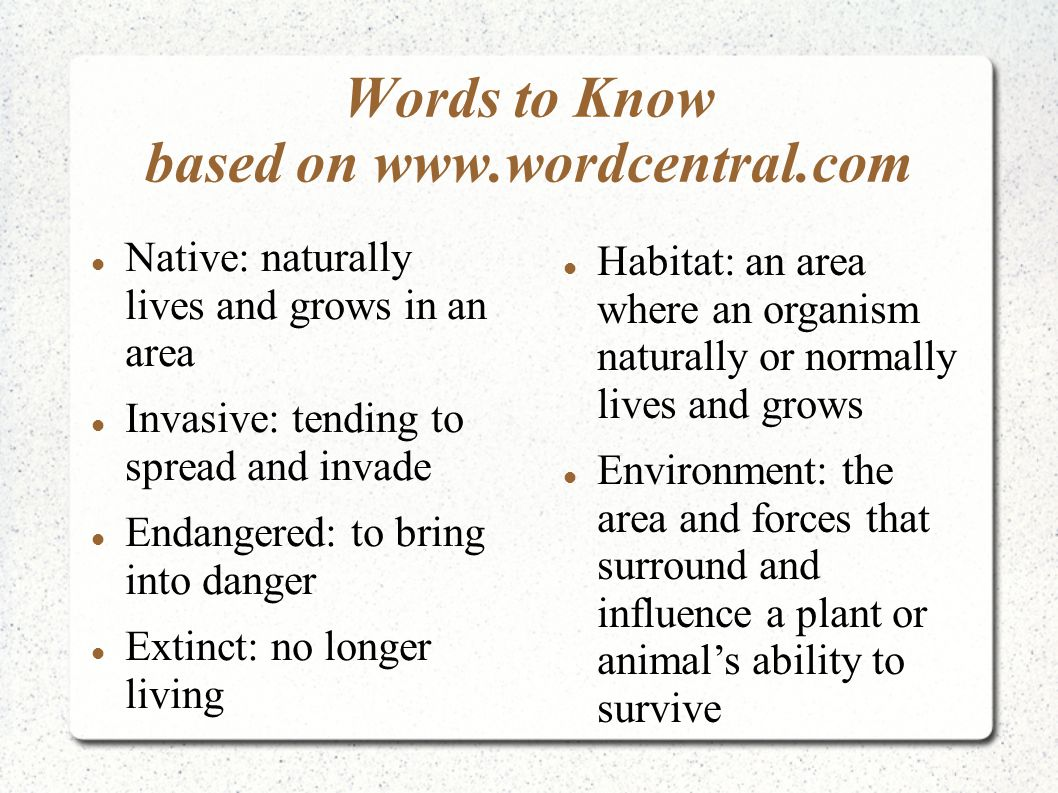 Words to Know based on www.wordcentral.com Native: naturally lives and grows in an area Invasive: tending to spread and invade Endangered: to bring in