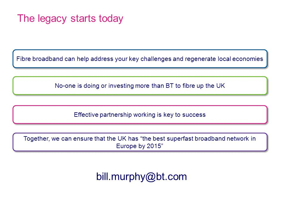 The legacy starts today Fibre broadband can help address your key challenges and regenerate local economies Effective partnership working is key to success No-one is doing or investing more than BT to fibre up the UK Together, we can ensure that the UK has the best superfast broadband network in Europe by 2015 bill.murphy@bt.com