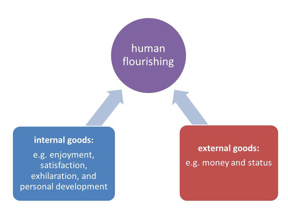 human flourishing internal goods: e.g.