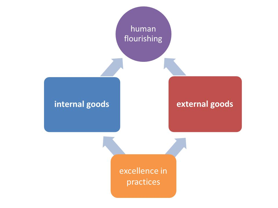 excellence in practices human flourishing internal goods external goods