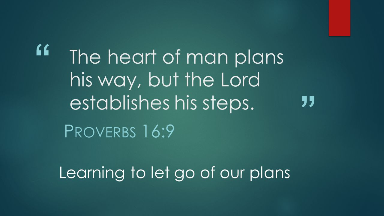 The heart of man plans his way, but the Lord establishes his steps.