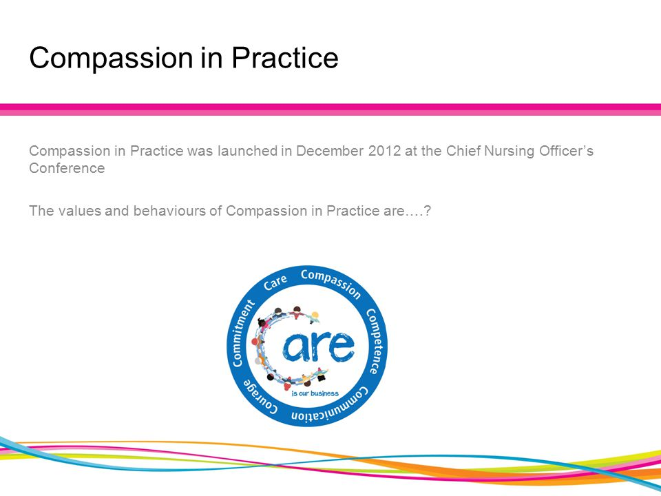 Compassion in Practice Compassion in Practice was launched in December 2012 at the Chief Nursing Officer's Conference The values and behaviours of Compassion in Practice are….