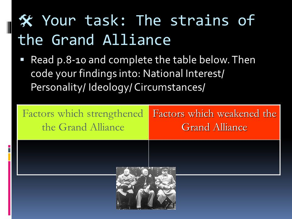  Your task: The strains of the Grand Alliance  Read p.8-10 and complete the table below.