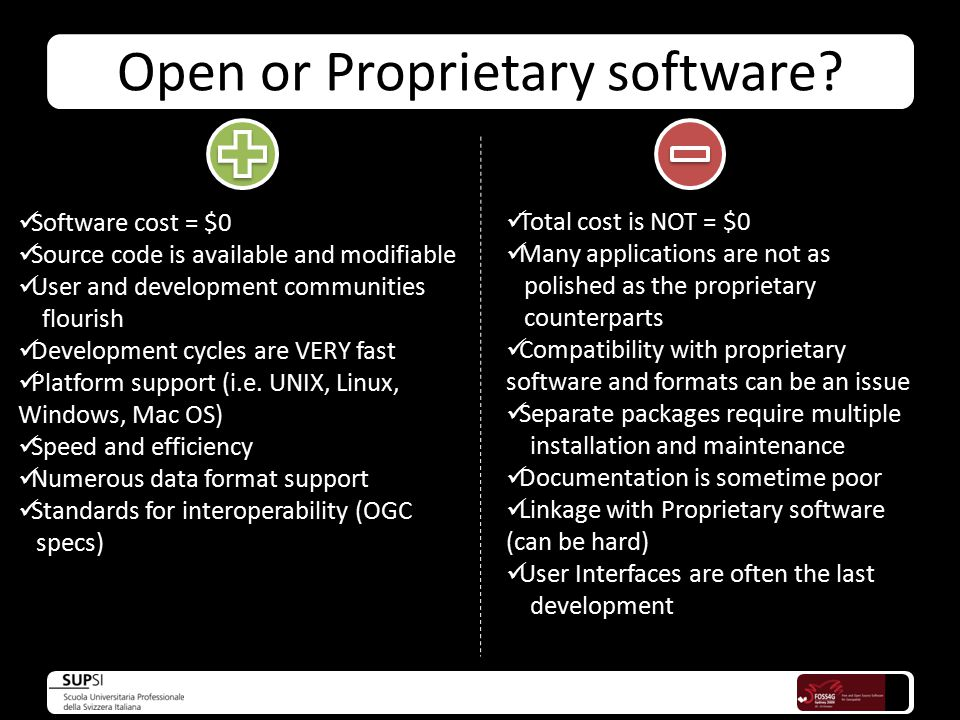 Open or Proprietary software.