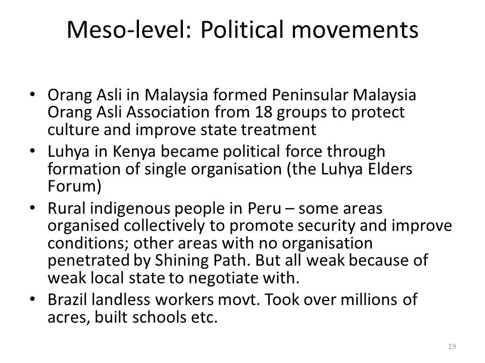 Meso-level: Political movements Orang Asli in Malaysia formed Peninsular Malaysia Orang Asli Association from 18 groups to protect culture and improve state treatment Luhya in Kenya became political force through formation of single organisation (the Luhya Elders Forum) Rural indigenous people in Peru – some areas organised collectively to promote security and improve conditions; other areas with no organisation penetrated by Shining Path.
