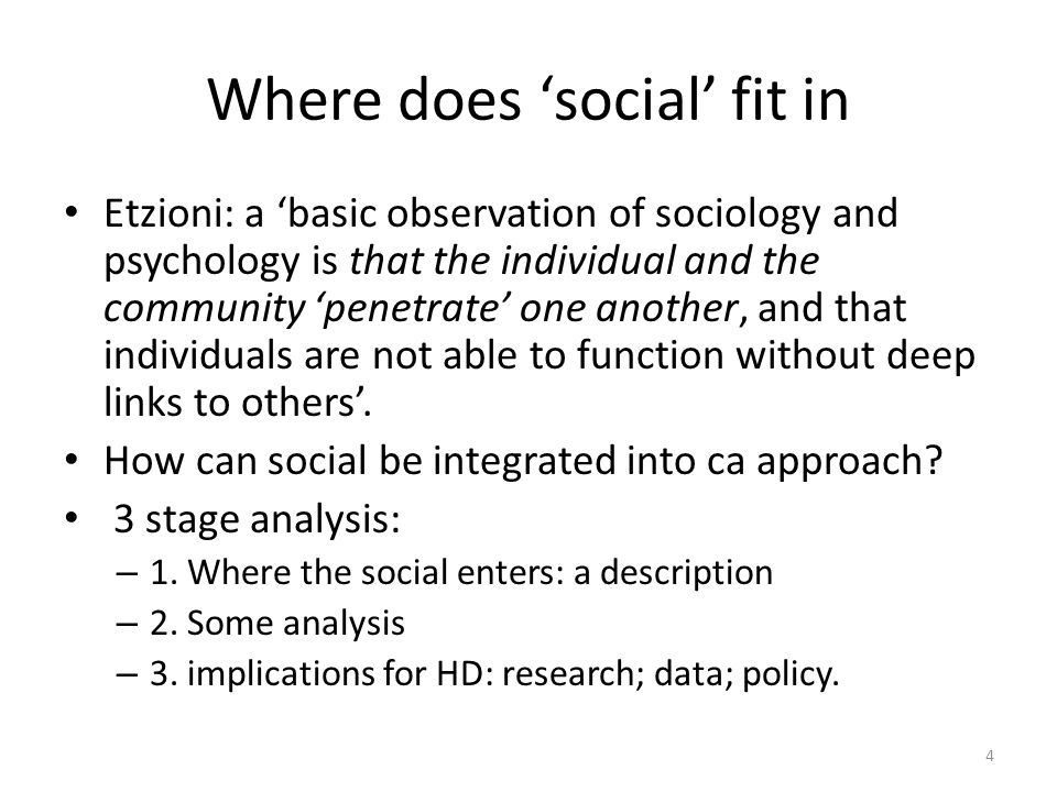 Where does 'social' fit in Etzioni: a 'basic observation of sociology and psychology is that the individual and the community 'penetrate' one another, and that individuals are not able to function without deep links to others'.