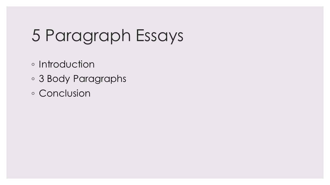 5 Paragraph Essays ◦ Introduction ◦ 3 Body Paragraphs ◦ Conclusion