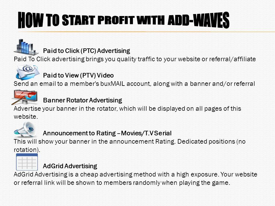 Paid to Click (PTC) Advertising Paid To Click advertising brings you quality traffic to your website or referral/affiliate Paid to View (PTV) Video Se